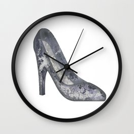 Emoji Shoe Heel Abstract Art in Purple Wall Clock