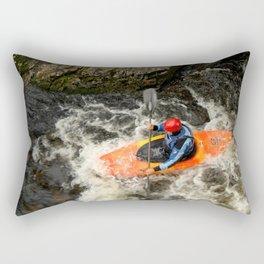 Orange Kayak Paddling Rectangular Pillow