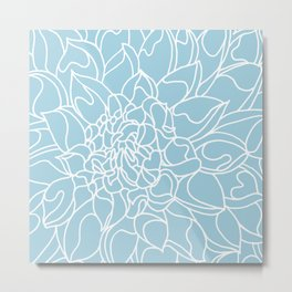 Chrysanthemum Light Blue Collection Metal Print