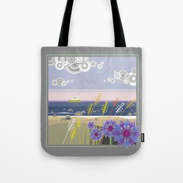 Sea landscape with wildflowers and ferry boat Tote Bag