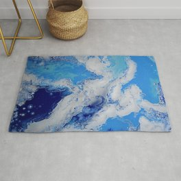 Caribbean Blue Fluid Turquoise Navy White Abstract Painting Rug