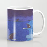 sharks Mugs featuring Sharks by Anna Gogoleva