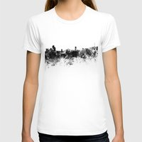 seoul T-shirts featuring Seoul skyline in black watercolor by Paulrommer