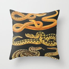 Snakes at Night Throw Pillow