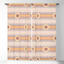 Concentric Circles and Stripes in Fall Colors Blackout Curtain