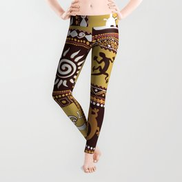 pattern with imitation of elements of rock art Leggings
