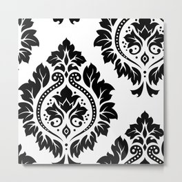 Decorative Damask Art I Black on White Metal Print