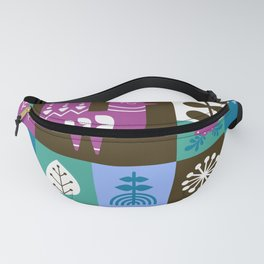 Scandinavian Midcentury Modern Composition With Birds And Flowers Fanny Pack