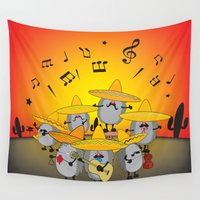tequila Wall Tapestries featuring mariachi hedgehogs by mangulica