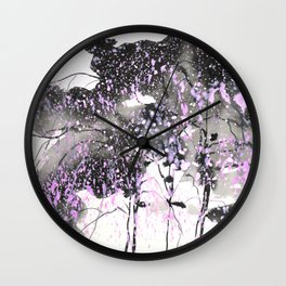 Sumie No.6 weeping willow cherry blossoms Wall Clock