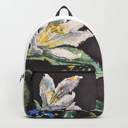 Branch with White Lemon Flowers and Yellow Fruit. Backpack