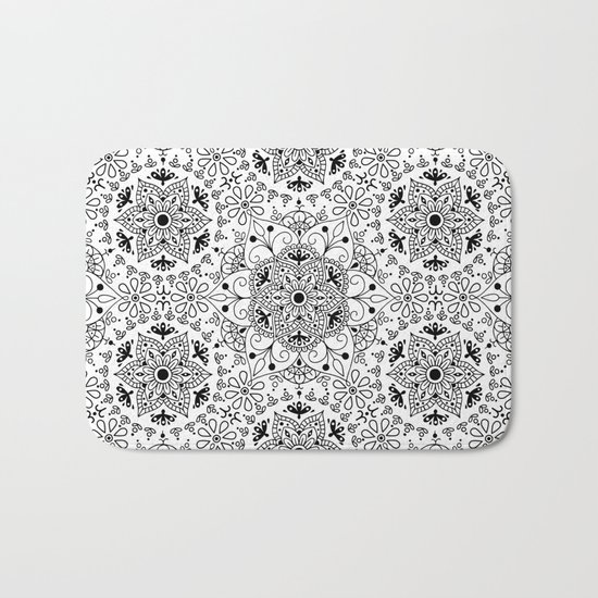 Mandala_White and Black Bath Mat