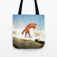 skateboard Tote Bags featuring Skateboard FOX! by Jesse Robinson Williams