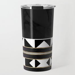 Black and White Marble Tile Abstract Travel Mug