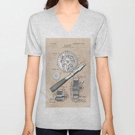 patent art Glocker Fishing reel 1906 Unisex V-Neck