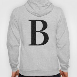 Modern Black Grey Damask Letter B Monogram Hoody