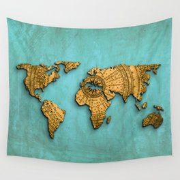 Vintage World Map on Jade Dragon Teal Wall Tapestry