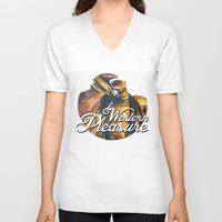 western V-neck T-shirts featuring Western Pleasure by Fallen Apple Designs