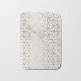 Geometric Hive Mind Pattern - Marble & Rose Gold #789 Bath Mat