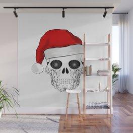 Christmas skull Santa design Wall Mural