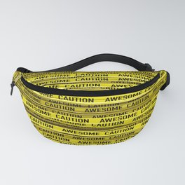 AWESOME, use caution / 3D render of awesome warning tape Fanny Pack