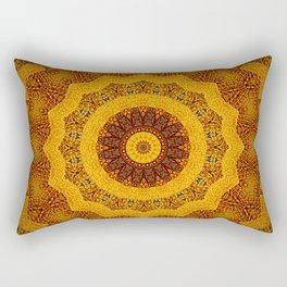 Bright Gold and Brown Mandala Rectangular Pillow
