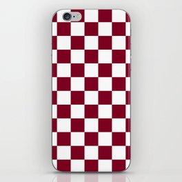 Checkered - White and Burgundy Red iPhone Skin