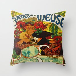 Vintage Art Nouveau Beer Ad Throw Pillow