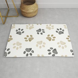 Doodle grey and gold paw print seamless fabric design repeated pattern background Rug