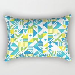Geometric Pattern Blues Rectangular Pillow