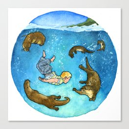Thomas and the Otters Canvas Print