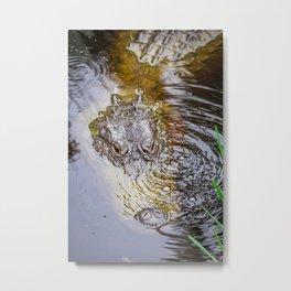Gator Blowing Bubbles Metal Print