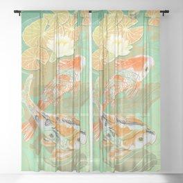 Carp Koi Water Lily Pond Sheer Curtain