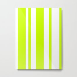 Mixed Vertical Stripes - White and Fluorescent Yellow Metal Print
