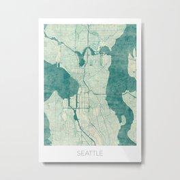Seattle Map Blue Vintage Metal Print