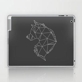 Geometric Wolf (White on Grey) Laptop & iPad Skin