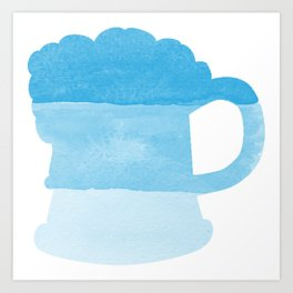 Oktoberfest Bavarian October Beer Festival Beer Mug in Bavarian Blue Art Print