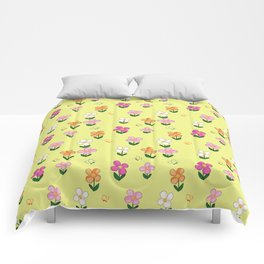 Colourful Flower Pattern on Yellow Background Comforters