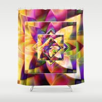 kandinsky Shower Curtains featuring Number 1 Abstract by Mark Compton by Mark Compton