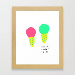 You and Me Sweet Sweet Life - ice cream illustration Framed Art Print