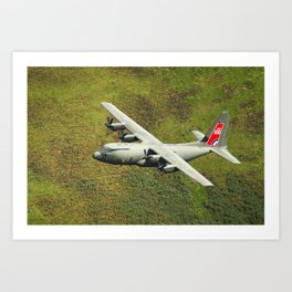 Low Flying Hercules With Special RAF Centenary Tail Art Art Print