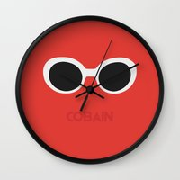 kurt cobain Wall Clocks featuring Cobain, Kurt by Balansaaaaaaaa
