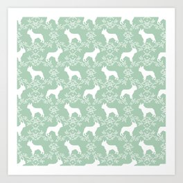 French Bulldog floral minimal mint and white pet silhouette frenchie pattern Art Print