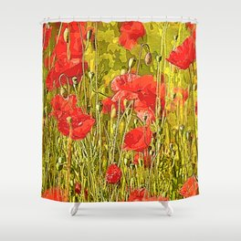 Poppies in the meadow Shower Curtain