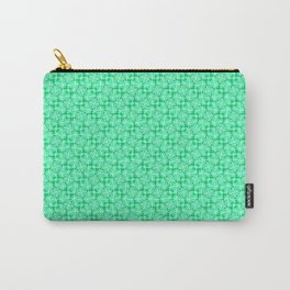 Twisted Turquoise and Mint Green Abstract Leaf and Lines Country Kitchen Design Pattern Carry-All Pouch