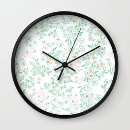 Forget me nots on white - in memory... Wall Clock