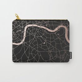 London Black on Rosegold Street Map Carry-All Pouch