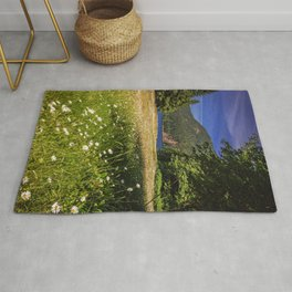 Field of Daisies and Lake Crescent Rug