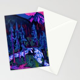 By the River Below the Mountains landscape painting by Ernst Ludwig Kirchner Stationery Cards