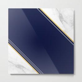 Double Marble - Blue Gold Stripes Metal Print